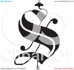 Royalty-Free (RF) Clip Art Illustration of a Black And White Old English Abc Letter S by BestVector