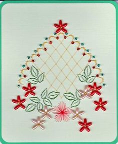 ED004 Trellis with flowers on Craftsuprint designed by Emy van Schaik - made by - Stitching with beads.Use cardstock to make this card. Start with the outside. Stitch first before the beads.Enjoy making this card. - Now available for download!
