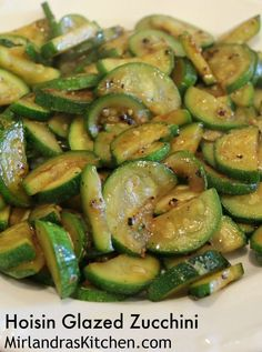 This hoisin glazed zucchini is a easy side dish that gives a little something special to the most prolific summer vegetable.  The hoisin sauce gives it a just a dash of flavor that changes the side dish and makes it new and fresh.  This is one of our favo