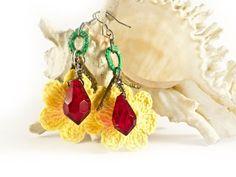 Handmade Crochet Earrings Dangle Earrings Yellow by SandyCraftUK