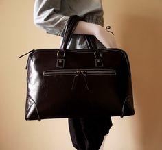 Black leather handbag / purse / Jandra by artoncrafts on Etsy, $170.00