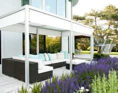 white structure to provide natural setting for outside seating.