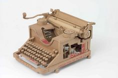 Cardboard art: Life size replica of Typewritter - by Chris Gilmour, Italy-based British artist