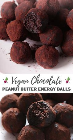 Naturally sweet, loaded with energy, these vegan chocolate peanut butter energy balls are delicious, healthy and perfect for a quick after-school snack. Vegan Snacks, Vegan Desserts, Vegan Recipes, Snack Recipes, Dessert Recipes, Vegan Treats, Chocolate Protein Balls, Chocolate Snacks, Healthy Chocolate