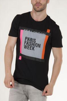 Μπλούζα μαύρη κοντομάνικη της Yes London με print fashion week αντρικό