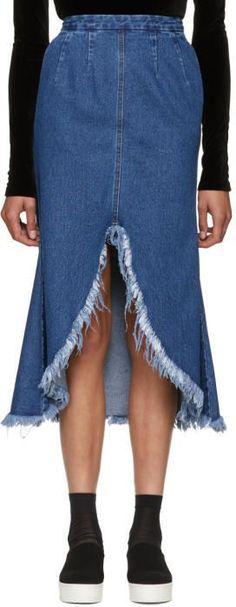 Sjyp Blue Front Cut-Off Denim Skirt