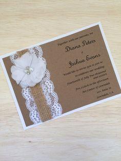 Invitación de boda rústico hecho a mano por RusticInvitesAndmore