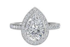 Pear Shaped Diamond Halo Micropavé Diamond Band Engagement Ring in Palladium, by Ritani