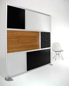 Wide X High Room Divider Office Partition Gray Black