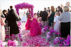 Hotel Del Coronado beach wedding, fuchsia orchid wedding