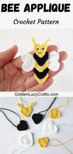 Learn how to make this crochet Bee applique from crocheted hearts! It is a beautiful project for Valentine's Day! Free crochet pattern, heart shaped applique, cardmaking, bee mine Crochet Bee Applique, Crochet Birds, Crochet Flower Patterns, Crochet Bear, Cute Crochet, Crochet Motif, Crochet Designs, Crochet Appliques, Crochet Animals