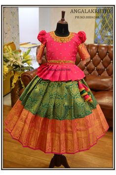 Kids Lehanga Design, Girls Frock Design, Kids Frocks Design, Baby Frocks Designs, Kids Dress Wear, Kids Gown, Dresses Kids Girl, Kids Wear, Kids Saree