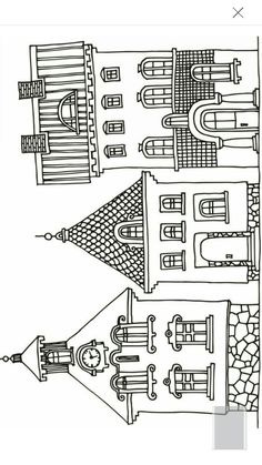Embroidery Pattern from Coloring Page of Houses from coloringbookzone.com. jwt Really Cute Houses!! jwt