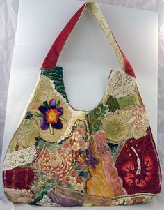 Crazy Quilted Handbag by sassythreadworks on Etsy