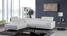 Divani Casa Wisteria Modern White Eco-Leather Sectional Sofa