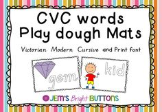 Print and laminate for a quick and easy literacy activity – just add playdough! This is a pack with 2 sets of playdough mats. One set of CVC words is in Victorian Modern Cursive. The other set is in a print font. Hopefully one of these fonts will suit your needs. Each page has the …
