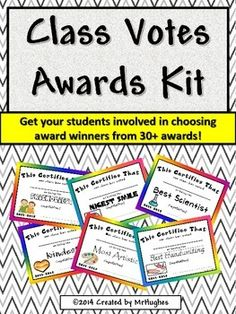 """Class+Votes+Awards""+Kit+is+a+perfect+way+to+get+kids+involved+in+recognizing+their+peers+in+a+positive+and+productive+format.+Students+vote+on+30++awards+for+their+classmates.+This+kit+has+everything+you+need+to+set+up+and+successfully+run+a+""voting+campaign""+in+your+classroom."