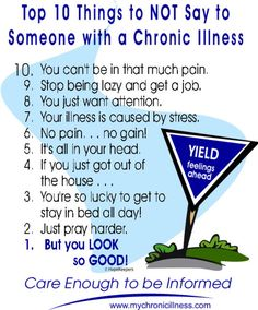 Chronic Illness... care enough to become informed