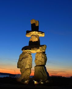 The Inukshuk near Stanely Park in Vancouver, BC.