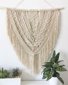 Show us your work below in the comments 👇🏻 Beautiful design, as always by Macrame Art, Macrame Projects, Cute Crafts, Diy Crafts, Rope Knots, Thread Art, Macrame Patterns, Woven Wall Hanging, Tapestry Weaving