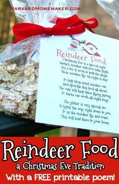 Reindeer Food - a Christmas Eve Tradition! Cute for a class activity or party favor, too! Free printable in the post! Reindeer Food - a Christmas Eve Tradition! Cute for a class activity or party favor, too! Free printable in the post! Holiday Crafts For Kids, Preschool Christmas, Christmas Activities, Kids Christmas, Holiday Fun, Holiday Foods, Christmas Poems, Xmas, Christmas Stuff
