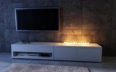 piękny biokominek na szafce Rtv przy telewizorze