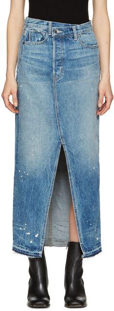 Helmut Lang - Blue Denim Reconstructed Skirt