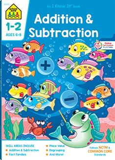 School Zone - Addition & Subtraction Deluxe Edition Workbook Ages 6 to 8 Addition Facts Subtraction Facts Fact Tables Fact Families Adding Doubles and Math Place Value, Place Values, Addition Facts, Addition And Subtraction, Worksheets Preschool, Math Workbook, Card Games For Kids, Learning Cards, Texts