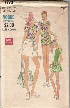 Vogue 7773 1970s Misses Mod Short Jumpsuit with Mini Wrap
