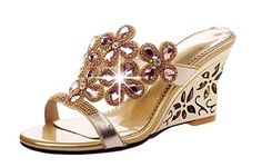 bd3724ebf3ff9 Littleboutique Women girls open toe sandal wedge crystal embellished slide  sandal gemstone beaded wedge sandal gold