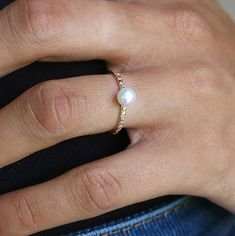gold filled ring band ring stacking ring pearl ring by sohocraft, $29.99