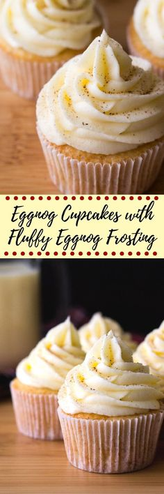 Light & fluffy Eggnog Cupcakes piled high with Eggnog Buttercream. Christmas in cupcake form!