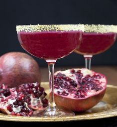 Pomegranate Margaritas are a delicious drink any time of the year and aren't hard to make. Adding gold cocktail salt is a fun way to dress up a classic drink. Cocktails For Parties, Party Drinks, Cocktail Drinks, Fun Drinks, Yummy Drinks, Cocktail Recipes, Drink Recipes, Beverages, Alcoholic Drinks