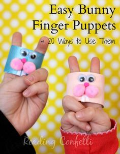 Bunny finger puppets - easy to make and perfect for practicing early literacy skills! little bunny foo foo puppets Farm Crafts, Easter Crafts For Kids, Toddler Crafts, Bunny Crafts, Easter Activities, Preschool Crafts, Preschool Activities, Puppet Crafts, In Kindergarten