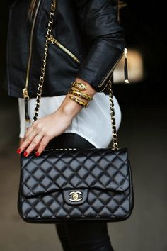 Black Leather Jacket With Chanel Chain Handbag