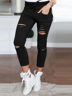b1cfef9734058 Hole Fashion Thin Plain Fall Womens Leggings - CheapClothingCity.com  Leggings Serrés, Les Leggings
