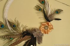 Thanksgiving Wreath, peacock feathers