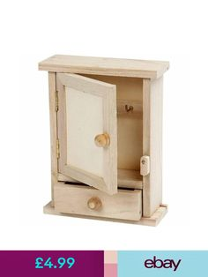 Other Storage Solutions Mini Key Cabinet Box - Plain Wood - Paint Decorate Personalise Home Small Chest & Garden Key Cabinet, Cabinet Boxes, Painting On Wood, Bathroom Medicine Cabinet, Cabinets, Mini, Ebay, Furniture, Home Decor
