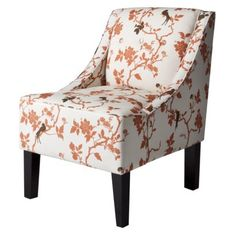 Swoop Upholstered Accent Chair - Rust Bird Floral   Want this for our living room that's going to be a shade of cozy orange! Pop on a chocolate brown pillow, and viola!
