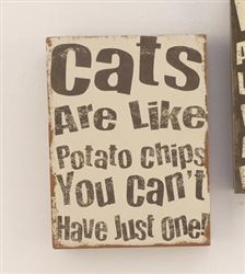 Wood Cats Are Like Potato Chips Wall Plaque #hiddentreasuresdecorandmore