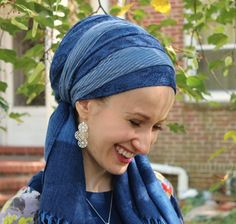 Lakeshore Bliss Blue Wrapunzel tichel - reasonable price for scarves!