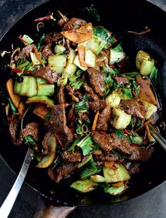 Stir-Fried Beef with Black Beans, Chinese Greens and Bamboo Shoots - The Happy Foodie Rick Stein Meat Recipes, Asian Recipes, Ethnic Recipes, Recipies, Chinese Recipes, Tofu, Beef Rump, Steak And Seafood, Fried Beef