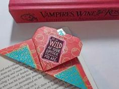 simple crafts making: Origami Heart Bookmark making