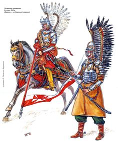 Polish Hussars:  Hussar companions. The 2nd half of the XVII century. (In horse - from the Crown Hussars detachment).