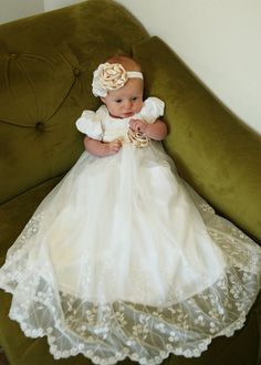 The Ingrid dress and headband. size 0-9months Current lace for this dress is the last 2 pictures. This Mesh Lace fabric has been a very popular type of