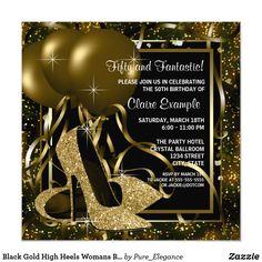Black Gold High Heels Womans Birthday Party Invitation 60th Birthday Party Invitations, Gold Birthday Party, Birthday Woman, 40th Birthday, Birthday Ideas, Purple Birthday, Fabulous Birthday, Birthday Decorations, Birthday Celebration