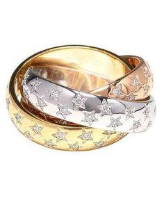 Idée et inspiration Bague Diamant : Image Description Cartier Trinity Ring with Diamonds Stars