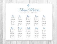 First Communion Seating Chart Template  Polka Dots  Instant