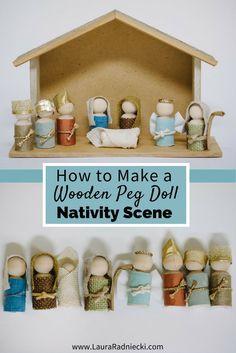 DIY Wooden Pegdoll Nativity Set for Kids and Toddlers | Christmas Crafts | Nativity set diy, nativity scene diy, diy nativity, nativity tutorial.