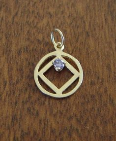 14K Gold Narcotics Anonymous NA Symbol Amethyst Pendant 12 step recovery | eBay